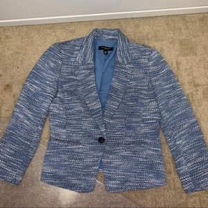 Ann Taylor Blue Tweed Petite Fitted Blazer